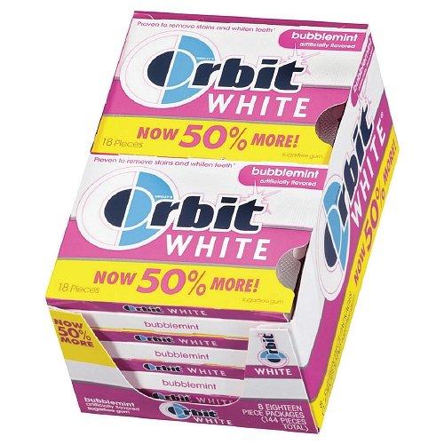 Orbit White Sugar Free Gum, Bubblemint 18 each (PACK OF 48)