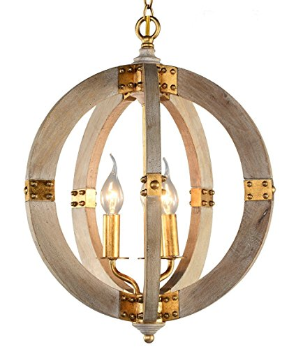 """- Rustic Globe Chandelier by AYUUU Wooden Pendant Light European Style Coastal Large Gold Wood and Metal 3 Light Swag Lighting Diameter 15.4"""" for Kitchen Island Farmhouse Dining Kids Room Foyer"""