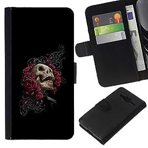 NEECELL GIFT forCITY // Billetera de cuero Caso Cubierta de protección Carcasa / Leather Wallet Case for Samsung Galaxy Core Prime // Floral del cráneo de Rose - Goth
