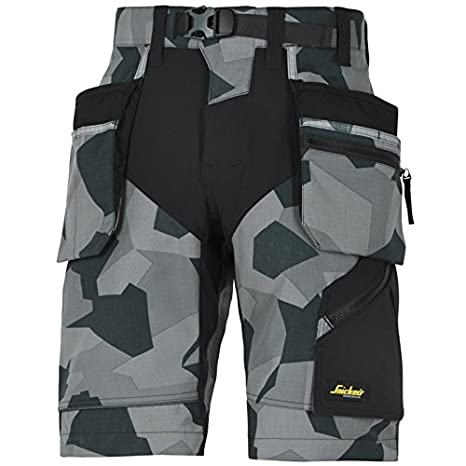 Snickers 69048704064 Shorts FlexiWork Size 64 in Camouflage-Grey//Black