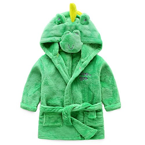Kids Hooded Terry Robe Fleece Bathrobe Children's Pajamas Sleepwear(Green Dinosaur, (121 Terry)