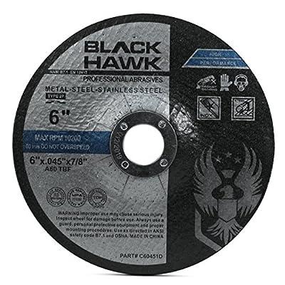 """25 Pack Black Hawk 6"""" x .045 x 7/8"""" Depressed Center Cut Off Wheels - Metal & Stainless Steel - Type 27"""