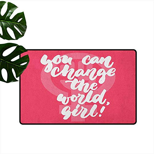 RenteriaDecor Quote,Durable Rubber Door Mat You Can Change The World Girl Female Empowerment Feminist Text on Pink 20