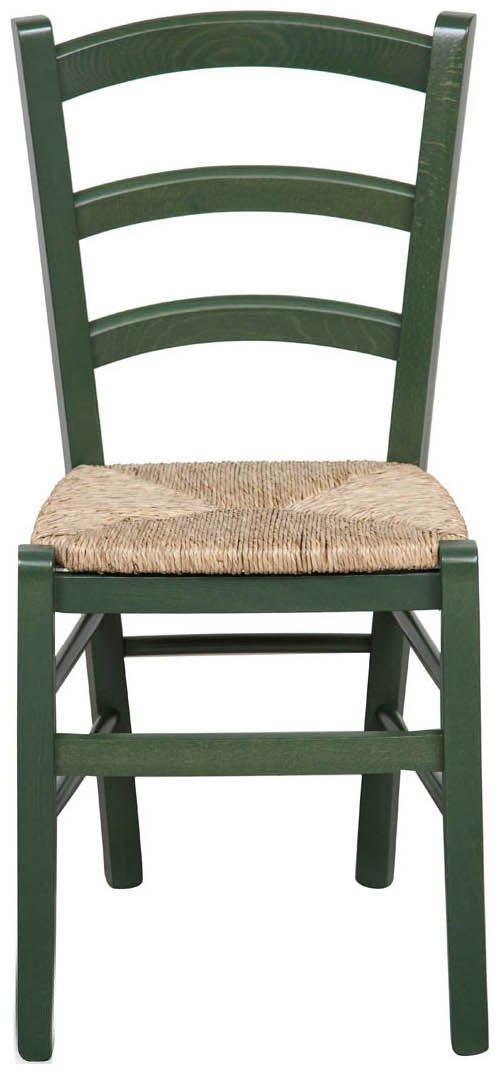 Biscottini Sedia in Legno massello di faggio Finitura Verde Laccato con Seduta in Paglia L45xPR45xH88 cm Made in Italy