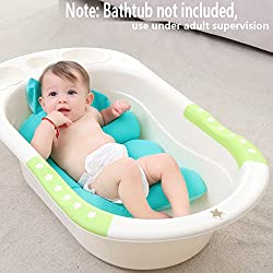 Baby Bath Seat Support Bath tub, Deluxe Newborn Baby Shower Net Mesh Bathtub, Safe and Adjustable Baby Bed with Netting for Infant Bathing Cradle Rings Sling