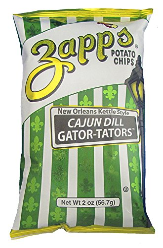 Zapp's New Orleans Kettle-Style Potato Chips, Cajun Dill Gator-Tator – Crunchy Chips with a Spicy Kick, Great for Lunches or Snacking on the Go, 2 oz. Bag (Pack of 25)