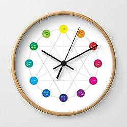 Society6 Simple Color Wheel Wall Clock Natural Frame, Black Hands