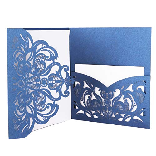 Driew Wedding Invitations with Envelopes, 12 pcs Laser Cut Invitation with RSVP Cards for Wedding Engagement Bridal Baby Shower Business Event Shimmer Elegant Chic Rustic (Best Invitations With Envelopes Packs)