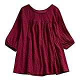 Women Blouse Casual Loose O-Neck Solid Half Sleeve Tunic Swing Tops Shirt