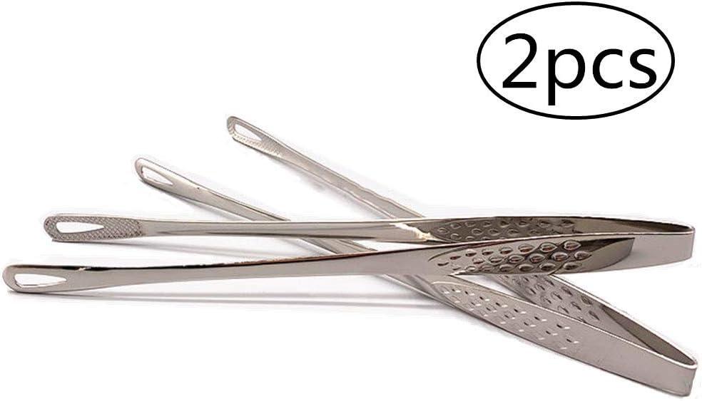 Longsing Zange Edelstahl Lebensmittel Kuchenzange Professionelle Kuche und Lebensmittel Hitzebestandige rutschfeste zum Kochen Servieren Grill Buffet Salat zange 2 STUCKE krj