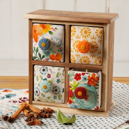 The Pioneer Woman Flea Market 4-Drawer Distress Spice/Tea Box by The Pioneer Woman