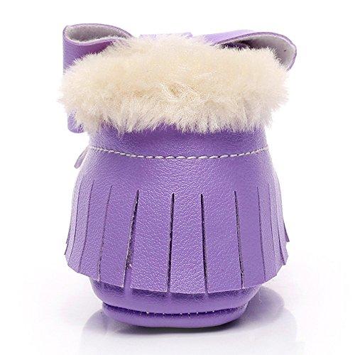 Hunpta Baby Schneestiefel Bowknot weiche Sohle weiche Krippe Baumwolle Schuhe Kleinkind Stiefel (Alter: 6 ~ 12 Monate, Rot) Lila