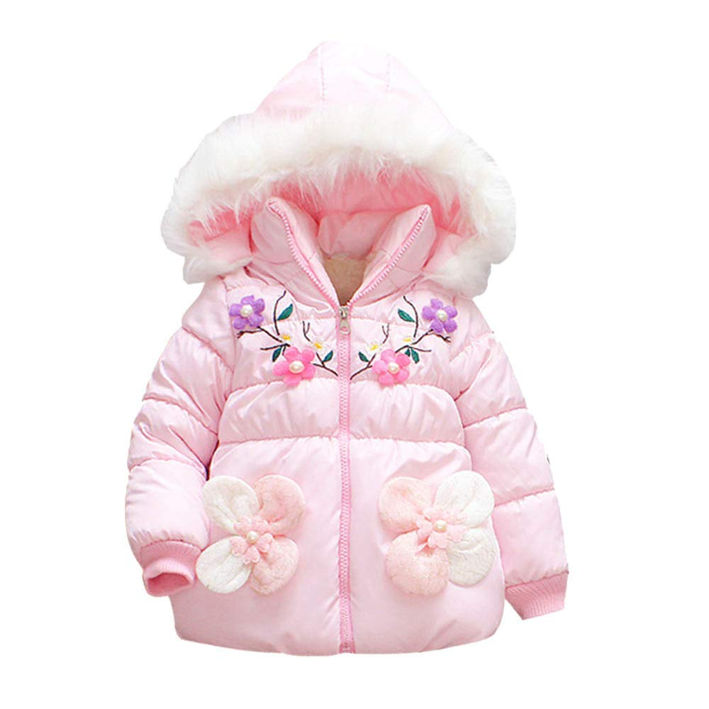 Tenworld B Baby Girls Winter Warm Puffer Coat Cloak Jacket Hooded Outerwear 6M-24M Kids Outerwear