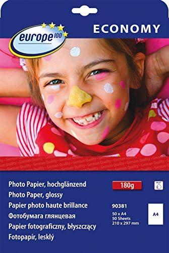 europe100 90381 Fotopapier, A4, hochglänzend, 180 g/m², 50 Blatt, weiß