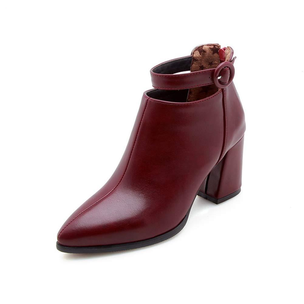 Frauen Stiefel Mode Spitz Knöchel Schuhe Winter Plüsch Plüsch Plüsch Warme Stiefel Mit Platz Ferse Reißverschluss High Heel Outdoor Frau Stiefel 40422d