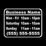 Wild Dingos LLC Business Hours Style 1 Size 10x13 Store Window Vinyl Decal Sticker White