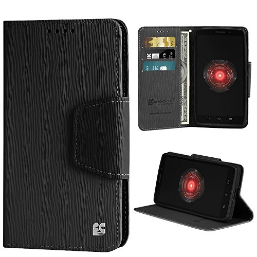 Beyond Cell PU Leather Folio Flip Cover Wallet Phone Case With Stand for Motorola Droid Maxx 1080M - Black/Black