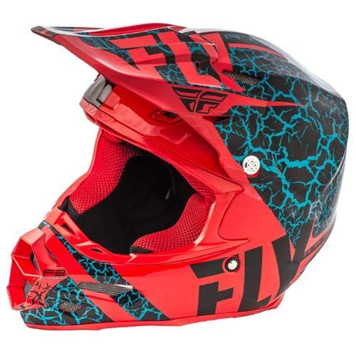 Fly Racing 2018 F2 Carbon Helmet - Fracture (XX-LARGE) (BLACK/RED/LIGHT BLUE)