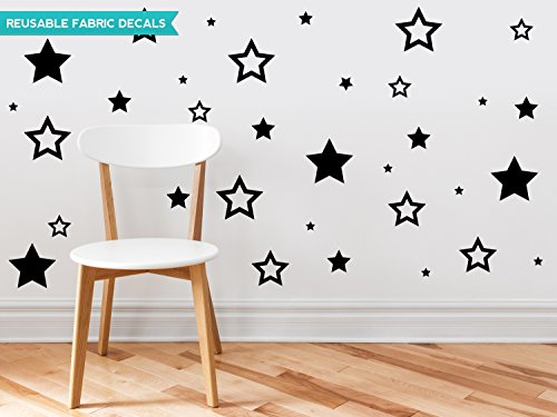 (Sunny Decals Stars Fabric Wall Decals (Set of 52), Black)