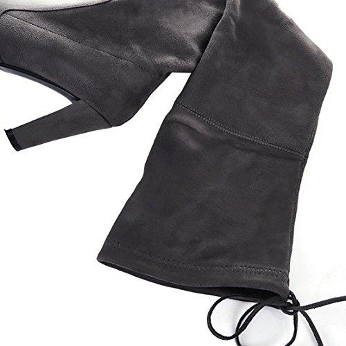 Aiyoumei Womens Punta Rotonda Lace-up Tacco Alto Blocco Tacco Stivali Autunno Inverno Sopra Il Ginocchio Stivali Lunghi Grigi