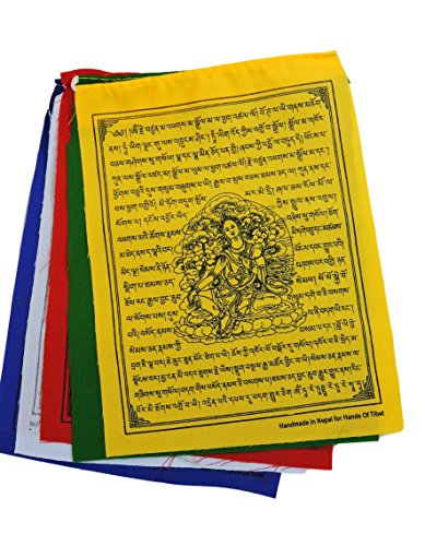 Green Tara Tibetan Prayer Flags From Nepal Set of Ten - Green Tibet