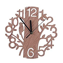 Eastsun Modern Wooden Tree Wall Clock, 3D DIY Watches Bathroom Bedroom Wood Round Vintage Decor Modern Wooden Tree Wall Clock, 3D DIY Watches Bathroom Bedroom Wood Round Vintage Decor