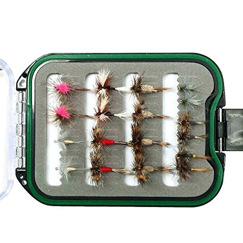 The Fly Fishing Place Waterproof Micro-Slit Foam Shirt Pocket Fly Box with Lanyard with 18 Premium Trout Flies Assortment - Essential Dry Fly Collection