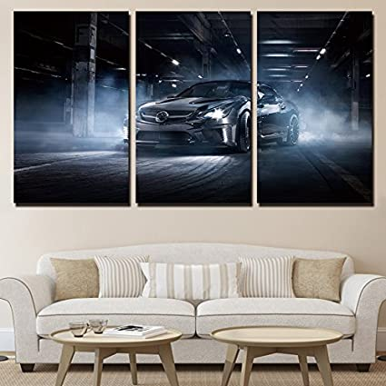 Amazon Com Yxt Arts 3 Pcs Set Framed Hd Printed Black Sports Car
