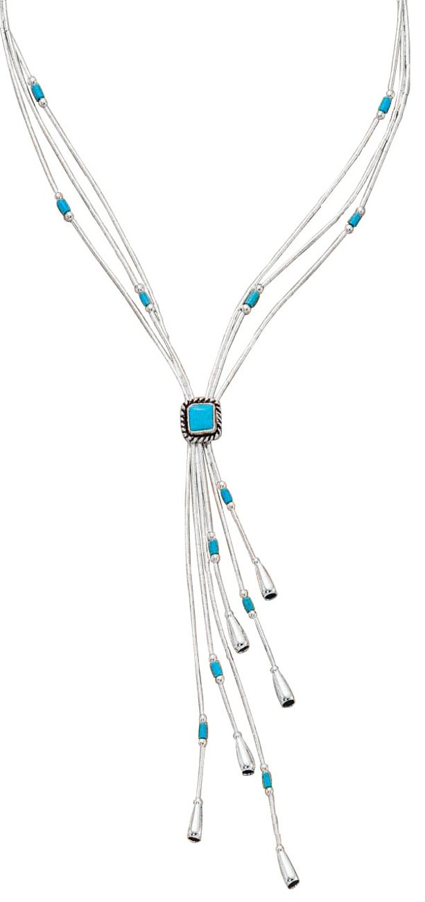 Sterling Silver Simulated Turquoise Lariat Tassel Choker Necklace