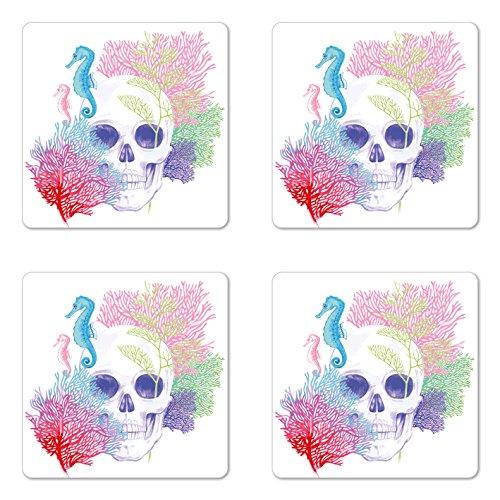Lunarable Animal Coaster Set of Four, Halloween Skull Skeleton Head with Coral Reef Dead Aquarium Pirate Wildlife Image, Square Hardboard Gloss Coasters for Drinks, -