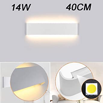Aplique Pared Interior LED IP44 Impermeable Kambo Lámpara de Pared Interior Moderna 14W 40CM Blanco Cálido 2800K 1000LM AC85-265V Aluminio Decoración para Salon Pasillo Escalera Dormitorio Baño: Amazon.es: Iluminación