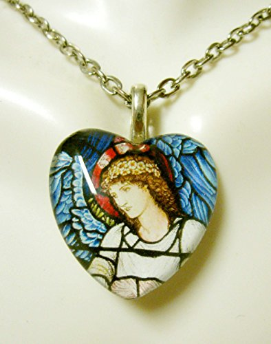 Stained Glass Heart Pendant (blue winged angel stained glass widow heart pendant - GP05-117)