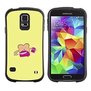 """Hypernova Slim Fit Dual Barniz Protector Caso Case Funda Para Samsung Galaxy S5 [Pan tostado amarillo de la historieta feliz""""]"""