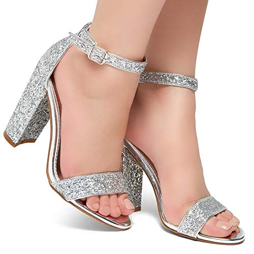 b661fc7a4f ... Herstyle Rosemmina Womens Open Toe Ankle Strap Chunky Block High Heel  Dress Party Pump Sandals Silver ...