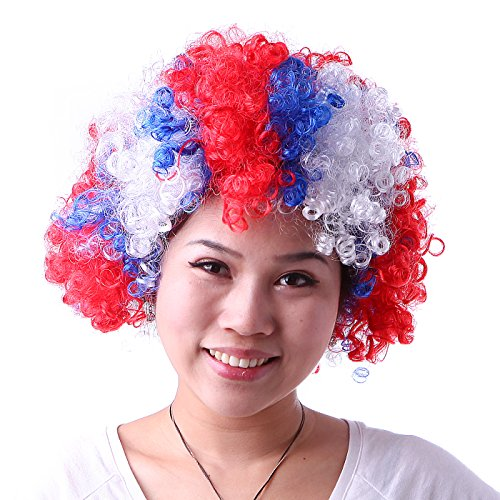 HDE Neon Color Afro Curly Clown Halloween Costume Party Wig Fake Goofy Unisex Hair (Patriotic Pattern (Good Funny Halloween Costumes)