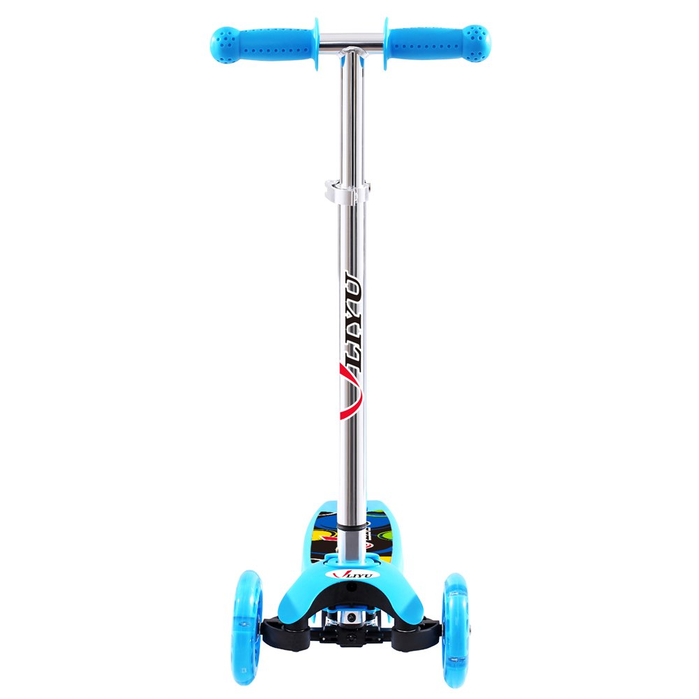 Blue Micro Kick 3 Wheel Scooters with Flashing Wheel for Age 2-6 Kids