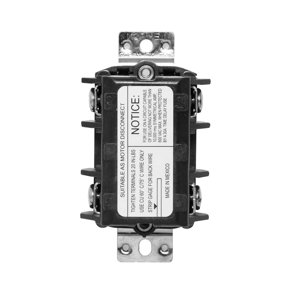 Toggle Three-Pole Leviton MS303-DS 30 Amp 600 Volt Black Non-Grounding Three Phase AC Motor Starter Suitable as Motor Disconnect Industrial Grade