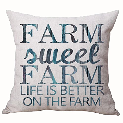 Best Gifts Sweet Funny Sayings Creative Color Wood Grain Farm Sweet Farm Life Is Better On The Farm Cotton Linen Decorative Home Office Throw Pillow Case Cushion Cover Square 18 Inches