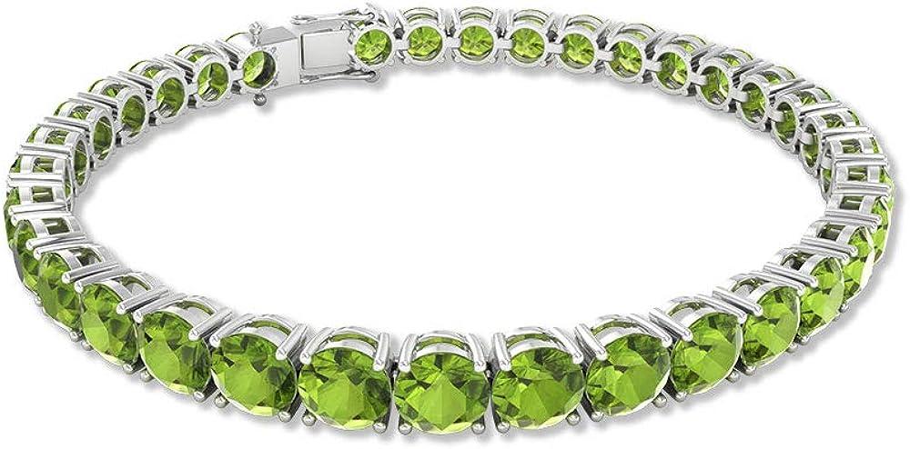 Pulsera de tenis de peridoto de 17,5 ct, redonda con piedras preciosas certificadas por SGL, pulsera de novia apilable, pulsera de aniversario de madres de 17,7 cm
