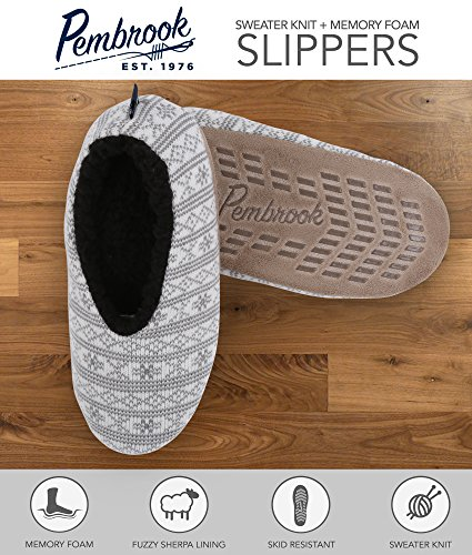 pembrook knit pattern slippers ballet style with non skid sole