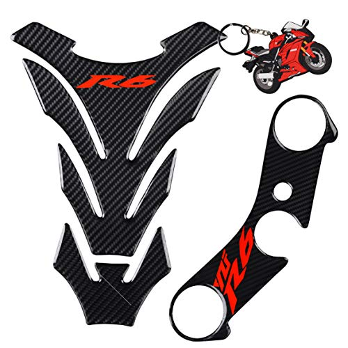 REVSOSTAR Real Carbon Look Triple Tree Front End Upper, Top Clamp Decal Stickers, Tank Pad, Tank Protector for Yzf R6 with Keychain, 3 Pcs Per Set