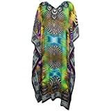Mogul Interior Womens Caftan Maxi Dress Multi Georgette Beach Long Kaftan One Size