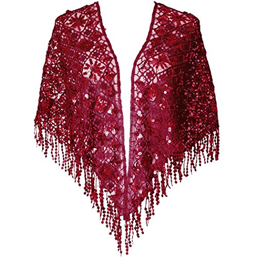 L'vow Women's Glittering 1920s Shawl Wraps Sequin Beaded Evening Cape Flapper Bolero (Wine)