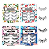 JIMIRE Fake Eyelashes 12 Pairs False Eyelashes Multipack Reusable 4 Styles False Lashes