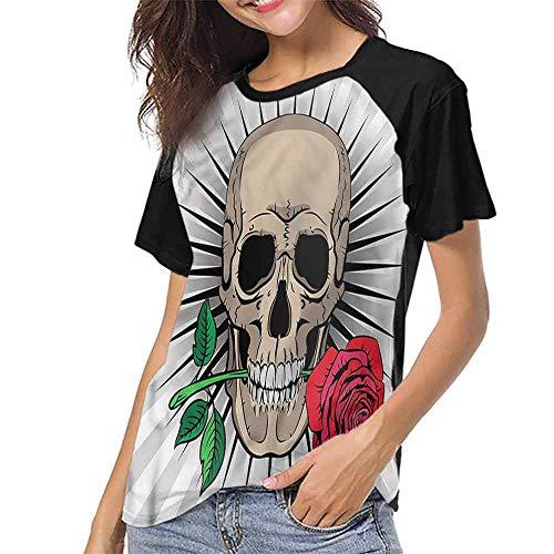 Womens Raglan Baseball T-Shirt,Skull,Romantic Latin Culture Motifs S-XXL Casual Blouses Baseball Tshirts Top