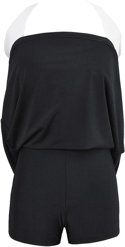 PANOZON Damen Neckholder Push Up Badekleid Einteiler mit R/ückchen Effekt Schwimmanzug Figurformender Badeanzug mit Hotpants Frauen Bademode