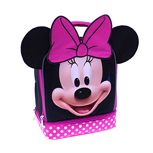 Mouse Lunch - Disney MN29130-SC-BK00 Minnie Mouse Dual Compartment Lunch Kit with Ears Insulated, Black