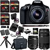 Canon EOS Rebel T6 DSLR Camera Kit, EFS 18-55mm, EF 75-300mm Zoom Lens, Three 32GB U3 Extreme Performance Memory Cards, Two Filter Kits, Camera Bag, Memory Reader & Accessory Bundle