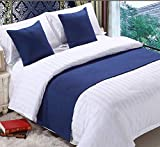 Mengersi Solid Bed Runner Scarf Protector Slipcover Bed Decorative Scarf for Bedroom Hotel Wedding Room