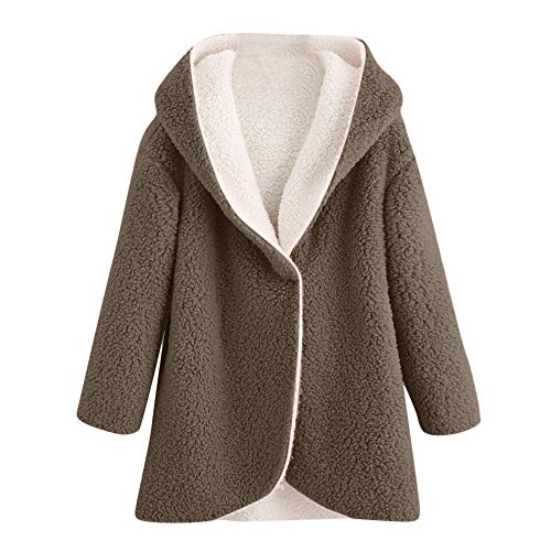 Clearance Sale! Wintialy Women's Winter Curved Hem Longline Faux Fur Sherpa Fleece Hoodie Coat CO/XL